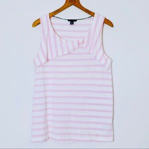 Tommy Hilfiger Ruched Bow Tank Top Striped Pink L